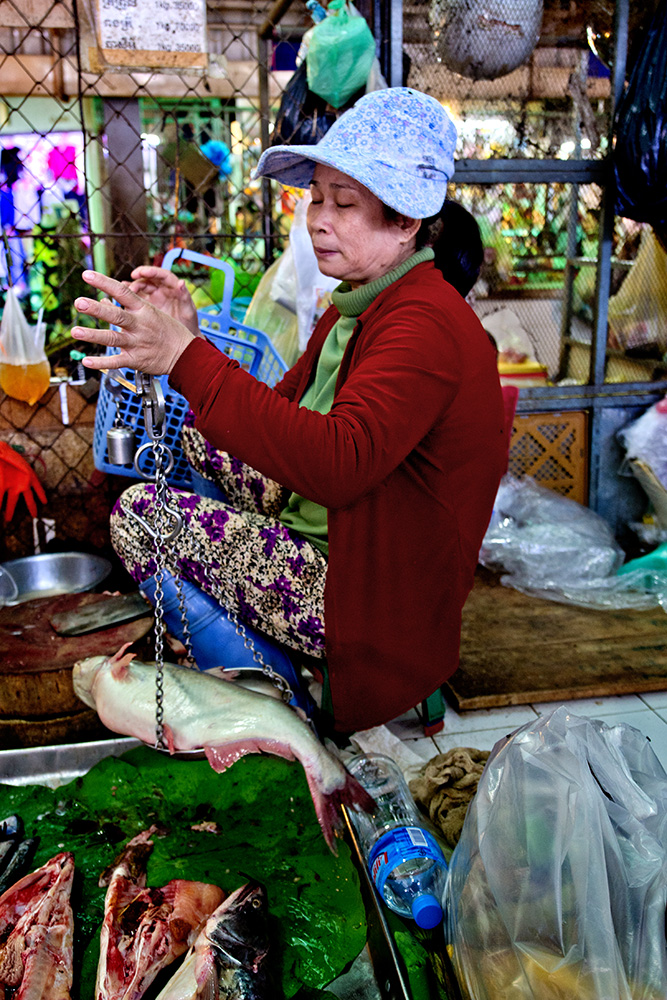 Kambodscha: Phsar Thmei – Die Dame und der Fisch (Central Market, Daun Penh District, Phnom Penh)